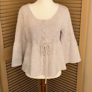 Beige Lambswool Blend Cardigan Medium Longsleeve